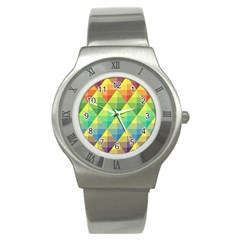 Background Colorful Geometric Stainless Steel Watch