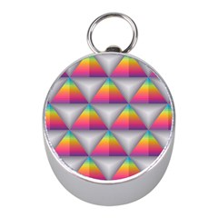 Trianggle Background Colorful Triangle Mini Silver Compasses by Wegoenart