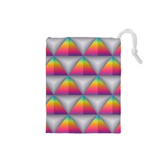 Trianggle Background Colorful Triangle Drawstring Pouch (small) by Wegoenart