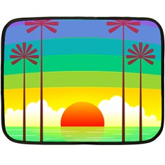 Seaside Sunrise Colorful Ocean Sea Double Sided Fleece Blanket (mini)