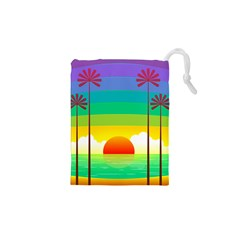 Seaside Sunrise Colorful Ocean Sea Drawstring Pouch (xs)