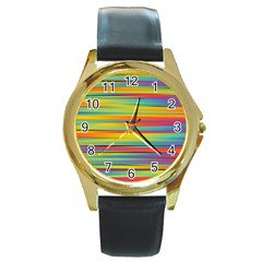 Colorful Background Pattern Round Gold Metal Watch