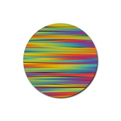 Colorful Background Pattern Rubber Coaster (round)