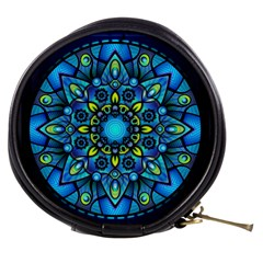 Mandala Blue Abstract Circle Mini Makeup Bag by Wegoenart