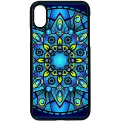 Mandala Blue Abstract Circle Apple Iphone X Seamless Case (black) by Wegoenart