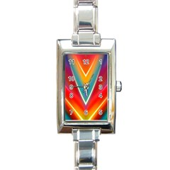 Colorful Background Art Pattern Rectangle Italian Charm Watch