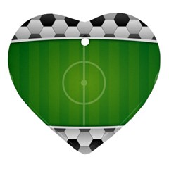 Background Sports Soccer Football Heart Ornament (two Sides) by Wegoenart