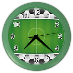 Background Sports Soccer Football Color Wall Clock by Wegoenart