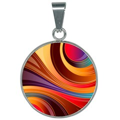 Abstract Colorful Background Wavy 25mm Round Necklace