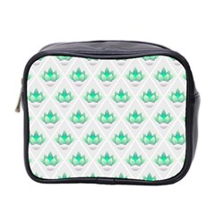 Plant Pattern Green Leaf Flora Mini Toiletries Bag (two Sides) by Wegoenart