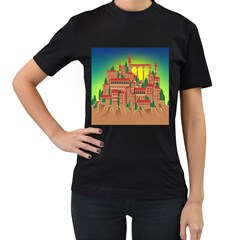 Mountain Village Village Medieval Women s T Shirt (black) (two Sided)