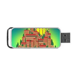 Mountain Village Village Medieval Portable Usb Flash (two Sides)