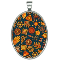 Pattern Background Ethnic Tribal Oval Necklace
