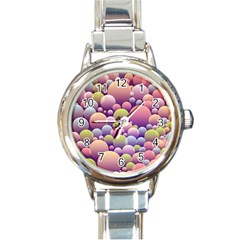 Abstract Background Circle Bubbles Round Italian Charm Watch