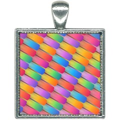 Colorful Background Abstract Square Necklace