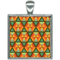 Background Triangle Abstract Golden Square Necklace