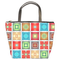 Tiles Pattern Background Colorful Bucket Bag