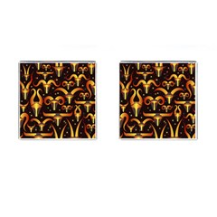 Stylised Horns Black Pattern Cufflinks (square)
