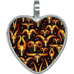 Stylised Horns Black Pattern Heart Necklace