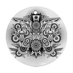 Forest Patrol Tribal Abstract Round Ornament (two Sides)