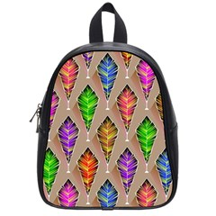 Abstract Background Colorful Leaves School Bag (small)