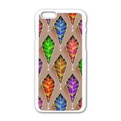 Abstract Background Colorful Leaves Apple Iphone 6/6s White Enamel Case