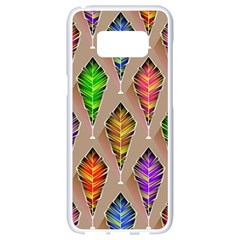 Abstract Background Colorful Leaves Samsung Galaxy S8 White Seamless Case