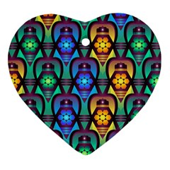 Pattern Background Bright Blue Ornament (heart)