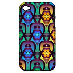 Pattern Background Bright Blue Apple Iphone 4/4s Hardshell Case (pc+silicone)