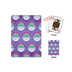 Background Floral Pattern Purple Playing Cards (mini) by Wegoenart