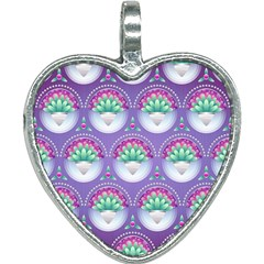 Background Floral Pattern Purple Heart Necklace
