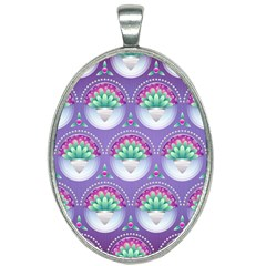 Background Floral Pattern Purple Oval Necklace