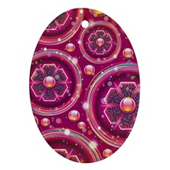 Pink Abstract Background Floral Glossy Ornament (oval)