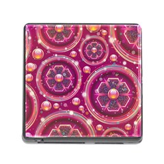 Pink Abstract Background Floral Glossy Memory Card Reader (square 5 Slot)