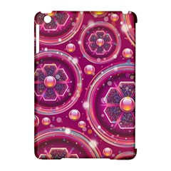 Pink Abstract Background Floral Glossy Apple Ipad Mini Hardshell Case (compatible With Smart Cover)
