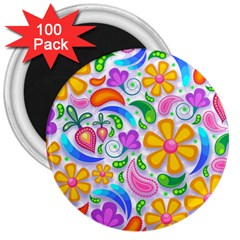 Floral Paisley Background Flower 3  Magnets (100 Pack)