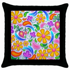 Floral Paisley Background Flower Throw Pillow Case (black)