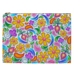 Floral Paisley Background Flower Cosmetic Bag (xxl)