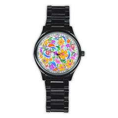 Floral Paisley Background Flower Stainless Steel Round Watch