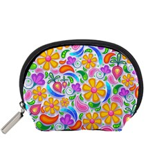 Floral Paisley Background Flower Accessory Pouch (small) by Wegoenart