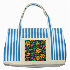 Floral Paisley Background Flowers Striped Blue Tote Bag