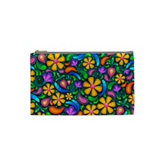 Floral Paisley Background Flowers Cosmetic Bag (small)