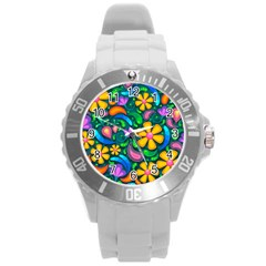 Floral Paisley Background Flowers Round Plastic Sport Watch (l)