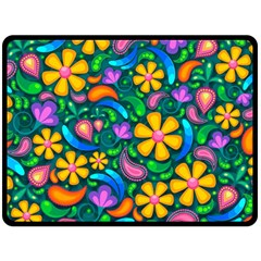 Floral Paisley Background Flowers Double Sided Fleece Blanket (large)