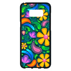 Floral Paisley Background Flowers Samsung Galaxy S8 Plus Black Seamless Case by Wegoenart
