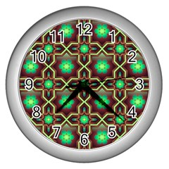 Pattern Background Bright Brown Wall Clock (silver)