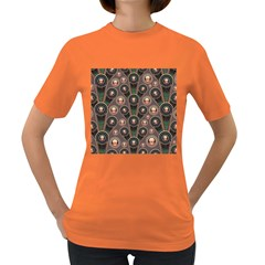 Background Abstract Pattern Green Women s Dark T Shirt