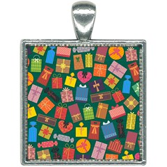Presents Gifts Background Colorful Square Necklace