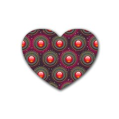 Abstract Circle Gem Pattern Heart Coaster (4 Pack)