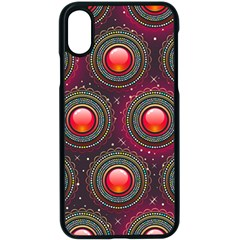 Abstract Circle Gem Pattern Apple Iphone Xs Seamless Case (black)